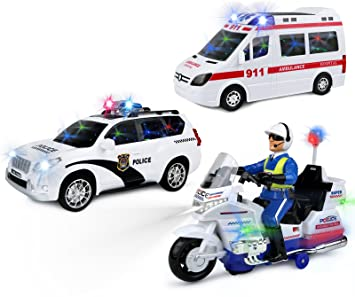 kiddie play battery operated bump and go toy ambulance police motorcycle and police car