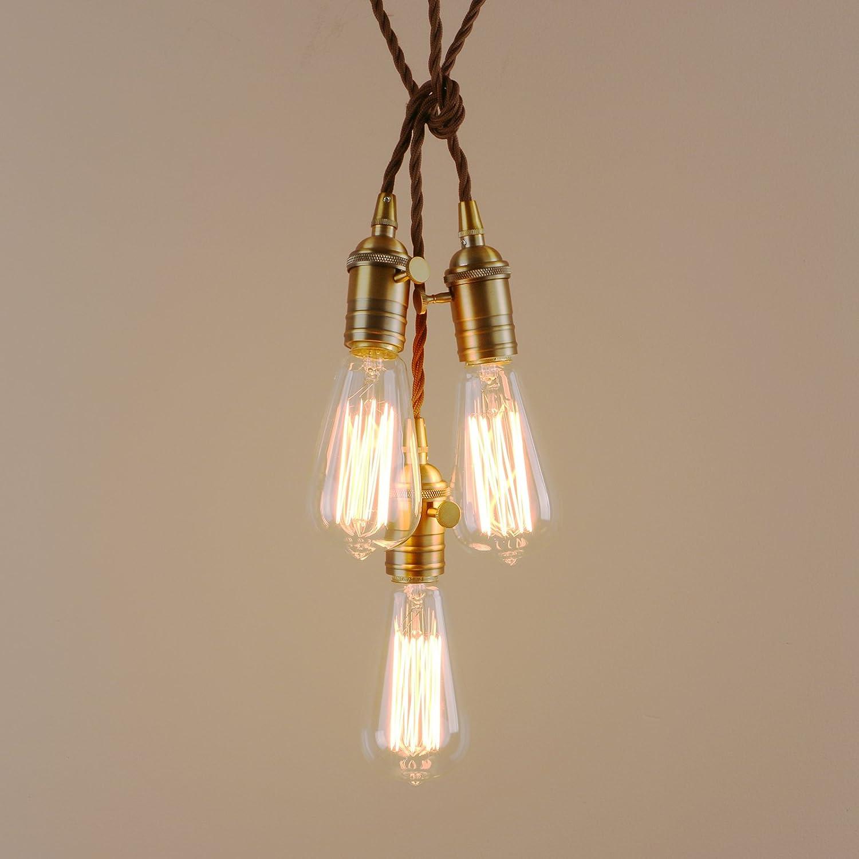 Pathson Industrial Modern 3 Pendant Lights Fitting, Vintage Edison Hanging