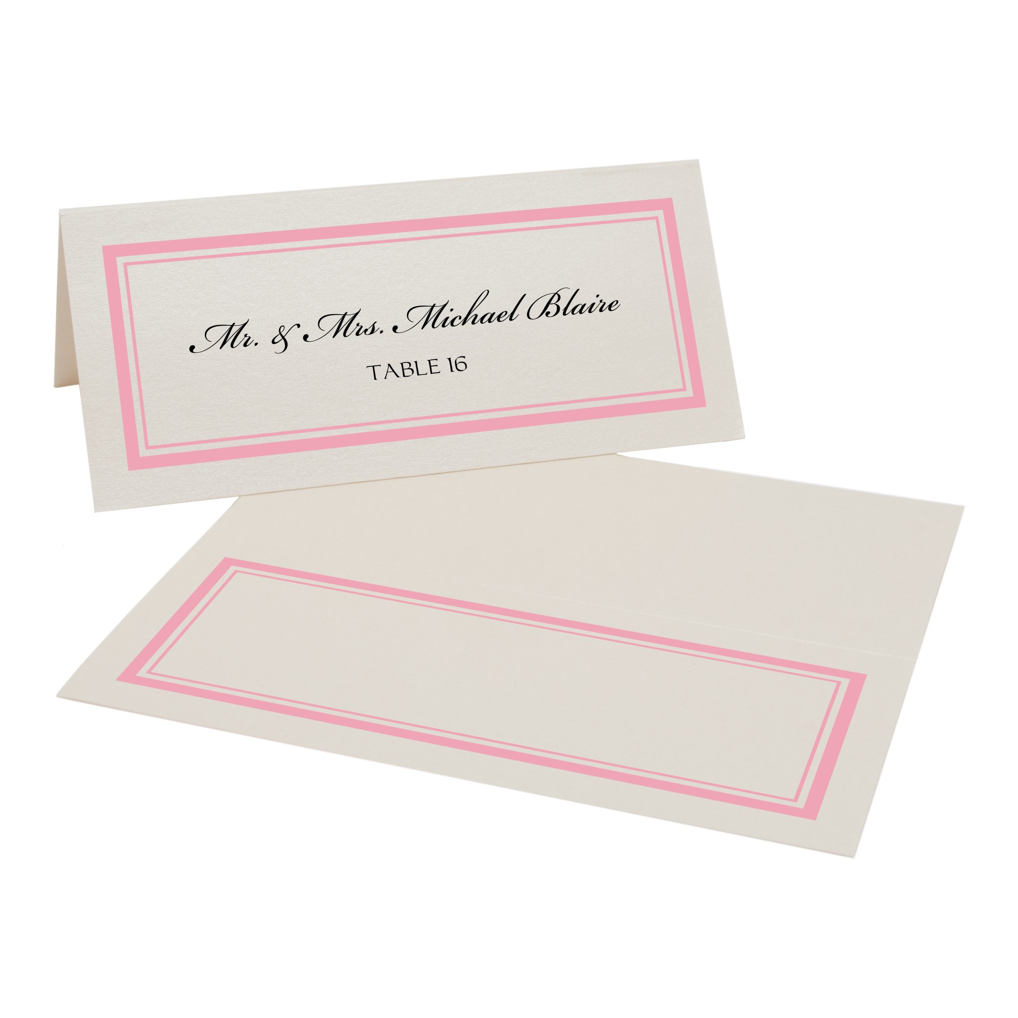 Double Line Border Place Cards, Champagne, Pink, Set of 375 by Documents and Designs