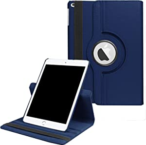 "Rayhee iPad Case for New iPad 8th Gen (2020) / 7th Generation (2019) 10.2 Inch,360 Degree Rotating Stand Smart Cover with Auto Sleep Wake for New iPad 10.2"" Case(Navy Blue)"