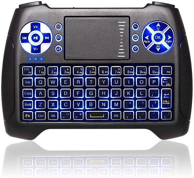 ANEWISH® T16 Mini Teclado Inalámbrico con Touchpad 2.4GHz Mini Keyboard Teclado Ergonómico con Ratón, Teclado Retroiluminado LED para Smart TV, Google ...
