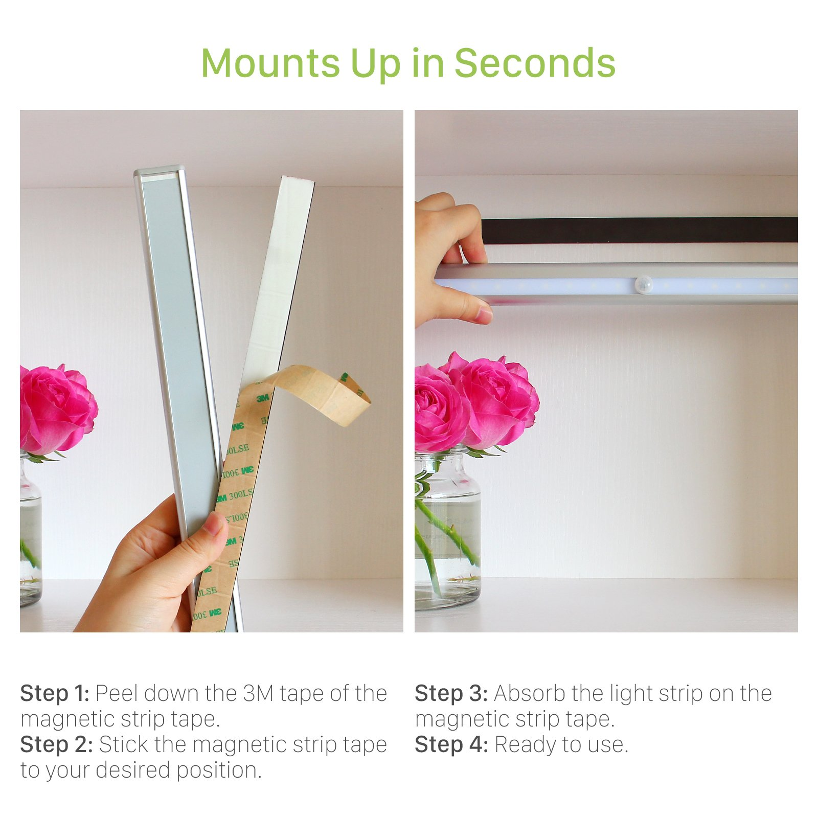 OxyLED Motion Sensor Closet Lights, Wardrobe Light USB Rechargeable Under Cabinet Lightening, Stick-on Cordless 20 LED Night Light Emergency light, Safe Lights with Magnetic Strip, 1 Pack, T-02S by OxyLED (Image #6)