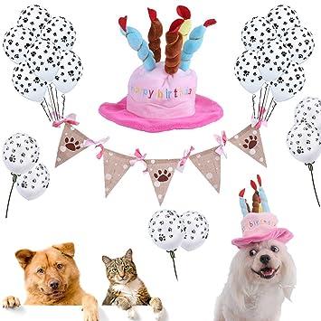 Funpa Hunde Geburtstag Deko 18pcs Paw Prints Latex Ballons Hund