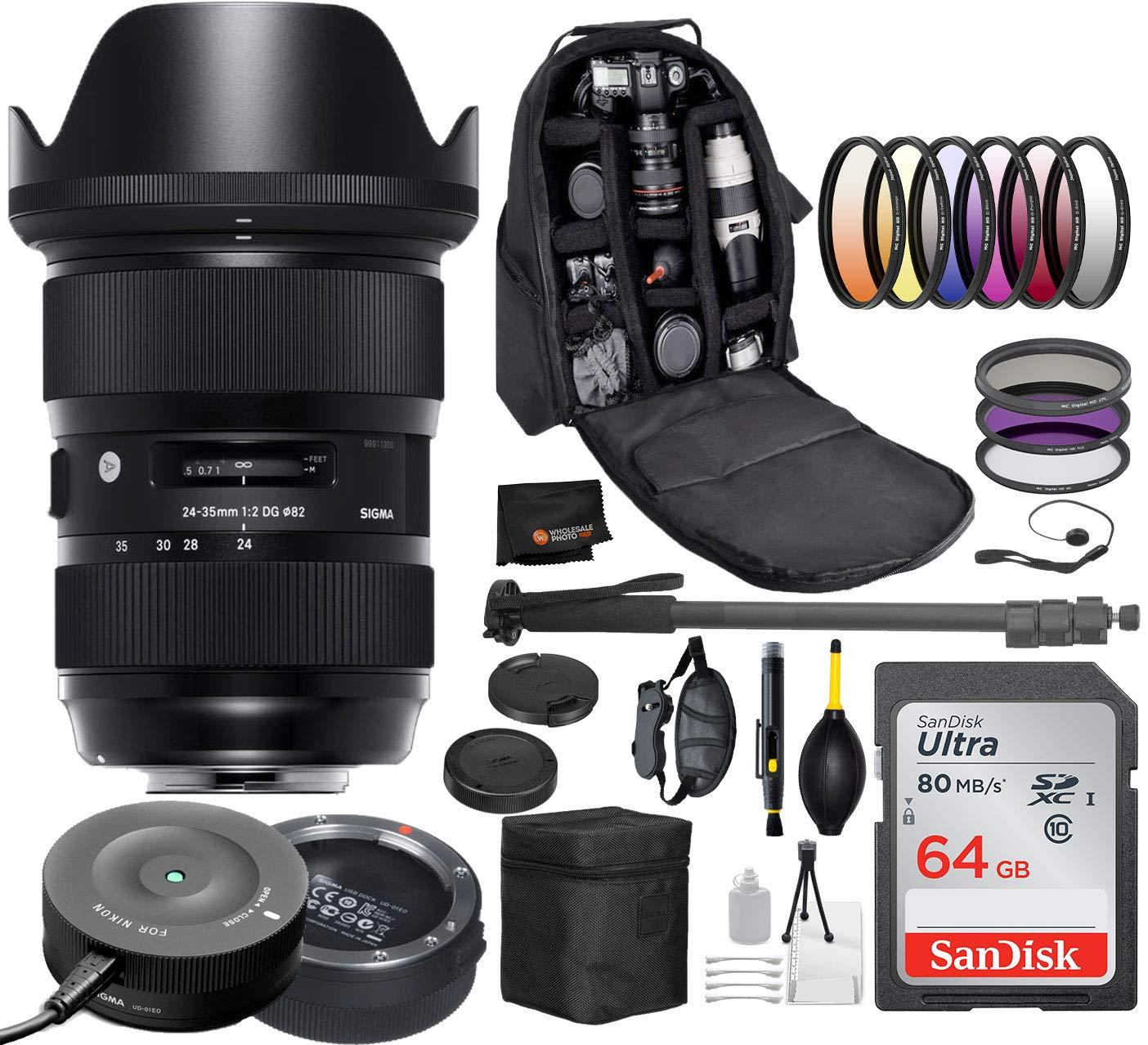 Sigma 24-35mm f/2 DG HSM Art Lens for Nikon DSLR Cameras 588955 USA + Sigma USB Dock with Professional Bundle Package Deal - 9 pc Filter Kit + SanDisk 64gb SD Card + Backpack + More