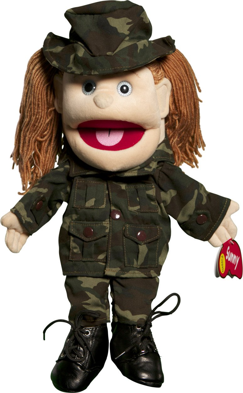 Sunny Toys 14 Brunette Yarn-Haired Army Girl Glove Puppet