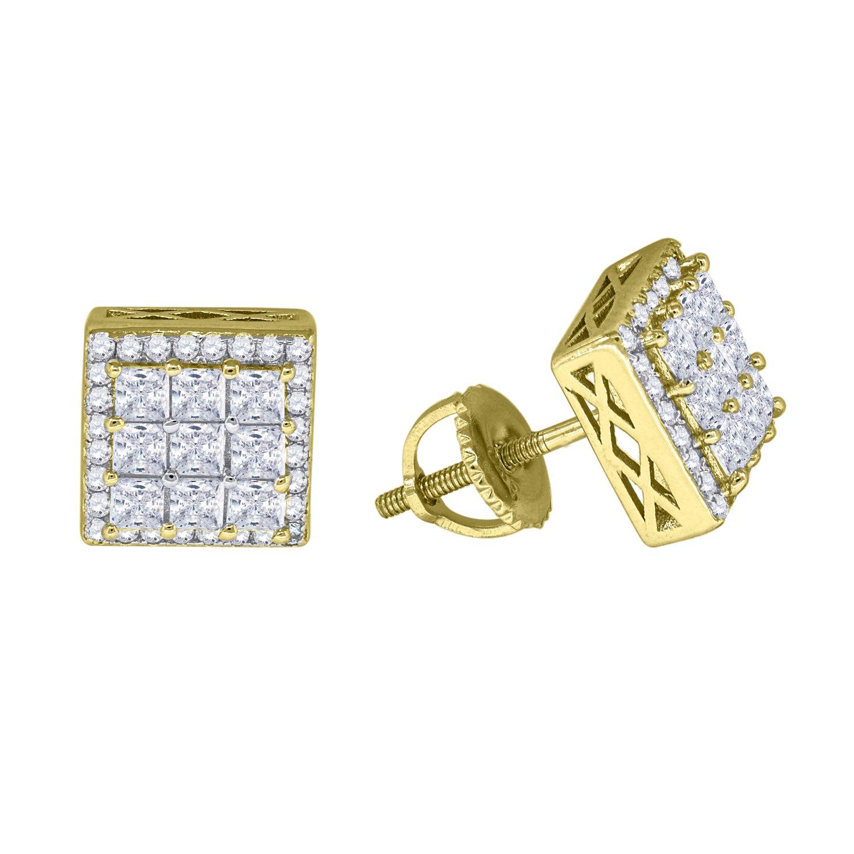8mm FB Jewels 925 Sterling Silver Mens Yellow-tone Cubic Zirconia CZ Princess cut Square Stud Earrings