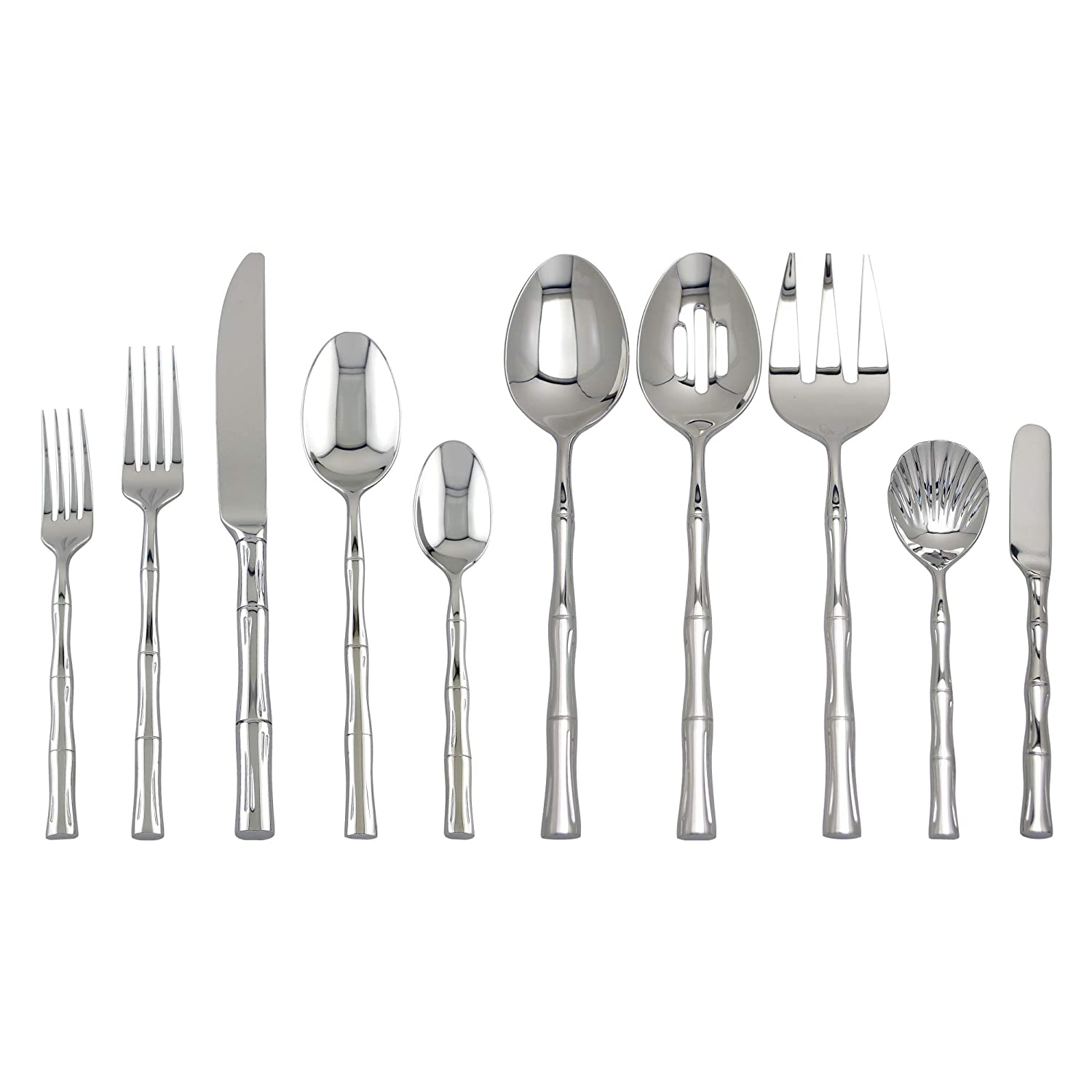 Flatware Set 45-Piece Supreme Stainless Steel 45-Piece Bamboo Flatware Set