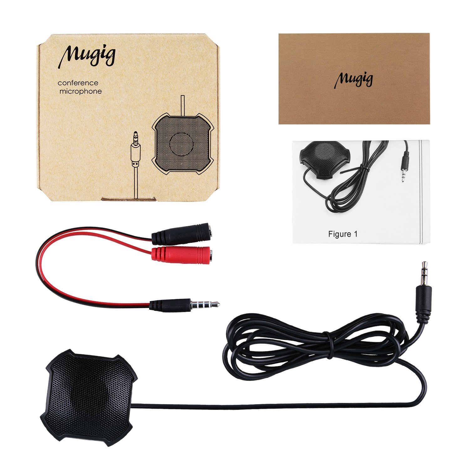Mugig Conference Microphone 3.5mm Plug Boundary Microphone Desktop including Adapter Compatible to Phone and Computer (Windows/Mac) for Meetings, Interviews, Podcasting, Recording etc.
