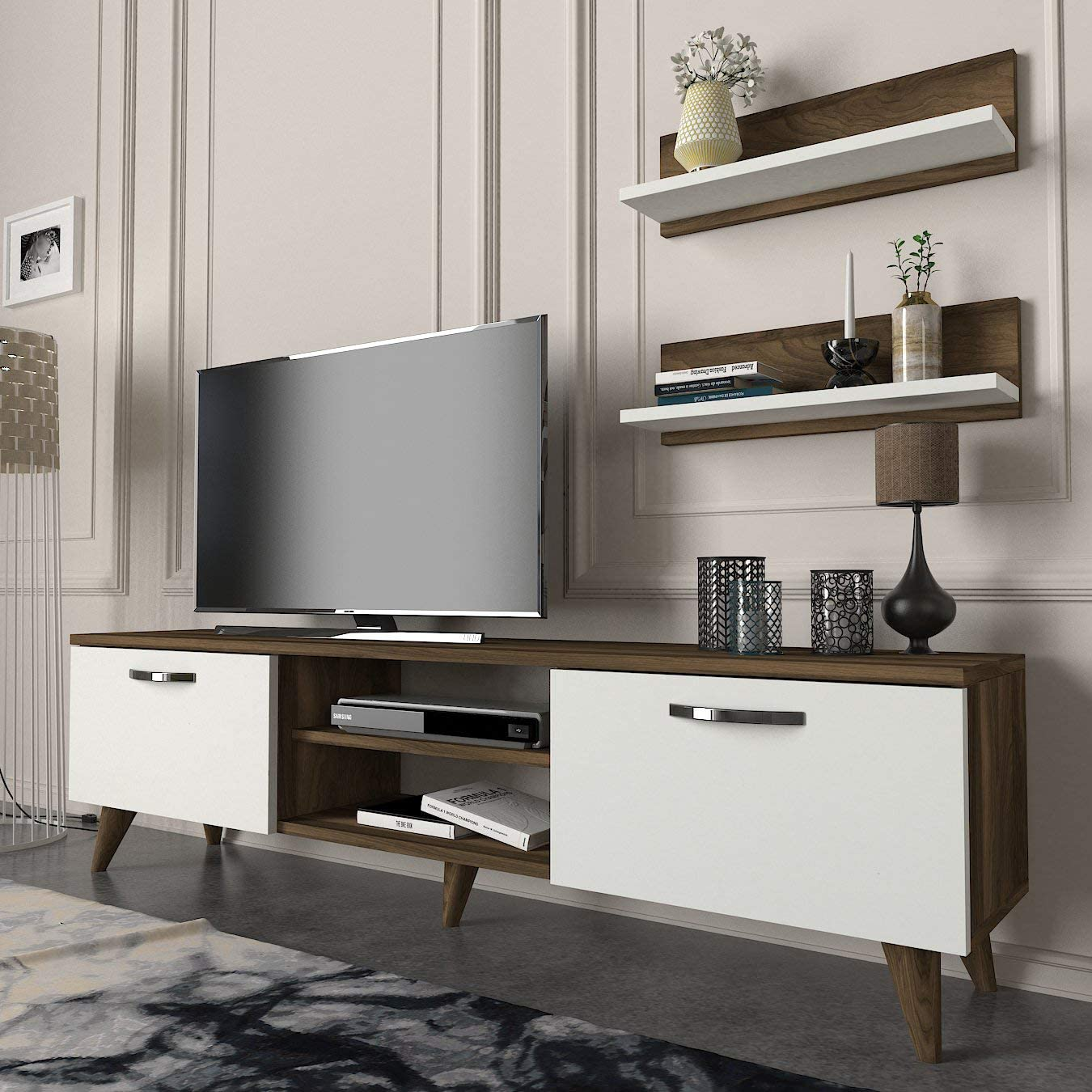 MAKENZA Design TV Stand Unit Modern Studio Collection TV Media Stand, Living Room Furniture with Cabinet & Ample Storage Shelves, Entertainment Center for Home & Office (White-Walnut)
