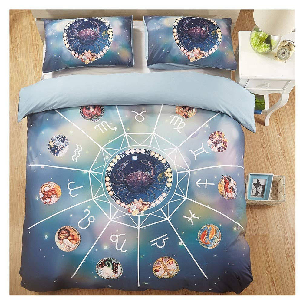 Bedding Duvet Cover Set Duvet Cover Set with Pillowcase Bedding Set Fade & Stain Resistant Twelve Constellations 3D Printing and Dyeing 5 Styles (Color : D, Size : 260X230CM) by OZYN-Duvet Covers