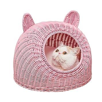 Premewish Cama de Ratán para Gatos de Verano para Mascota, Cama Nido Mascota, Gato