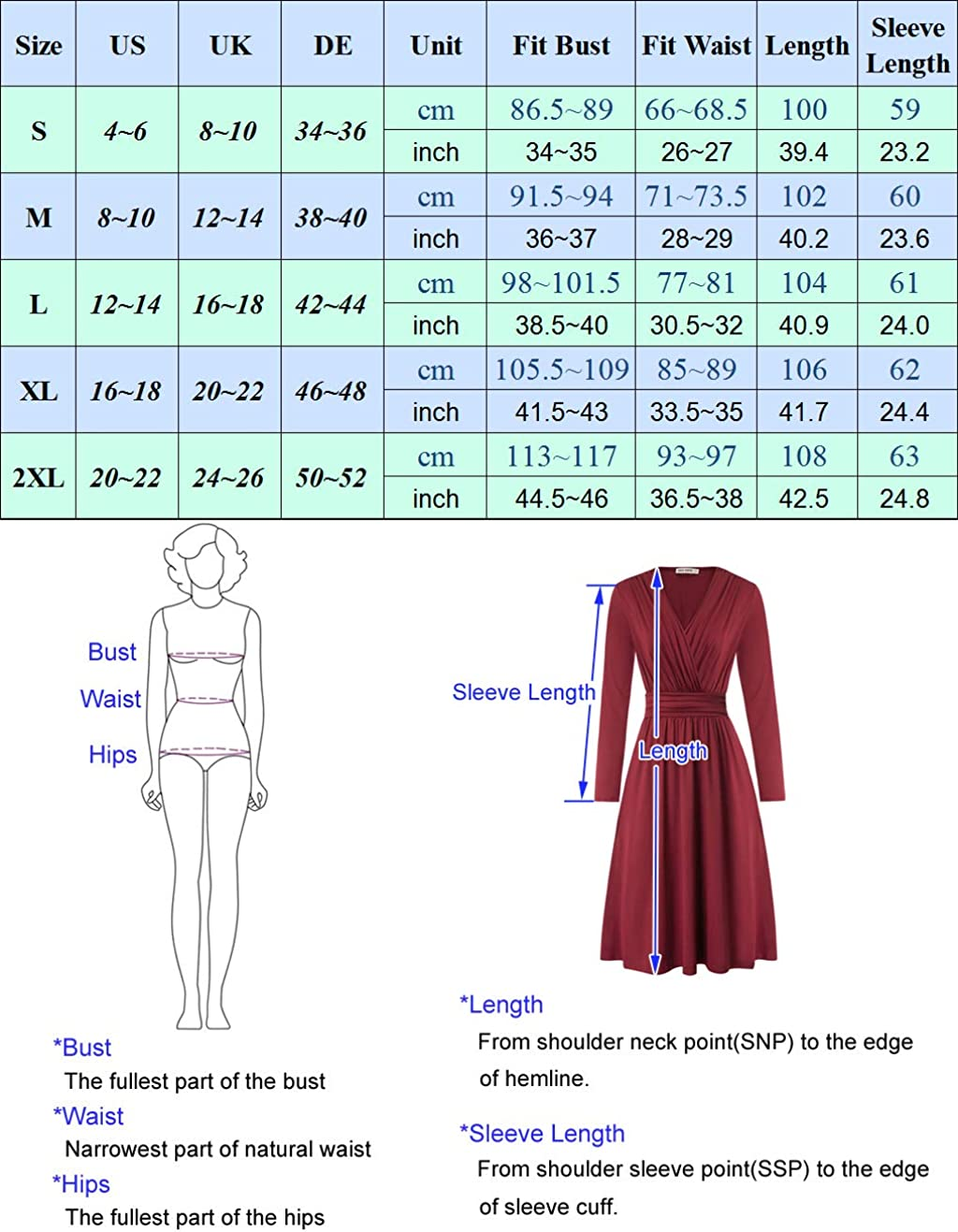 GRACE KARIN Vestiti Donna Scollo a V Kimono Design Pieghe Elegante Abito Manica Lunga Tessuro Morbido e Liscio