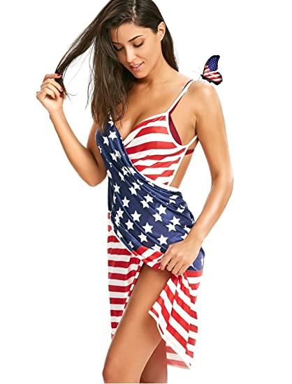 de4f8a744b S-R VISION Sexy Deep-V Sleeveless American Flag Cover Up Wrap Dress Plus  Size Spaghetti
