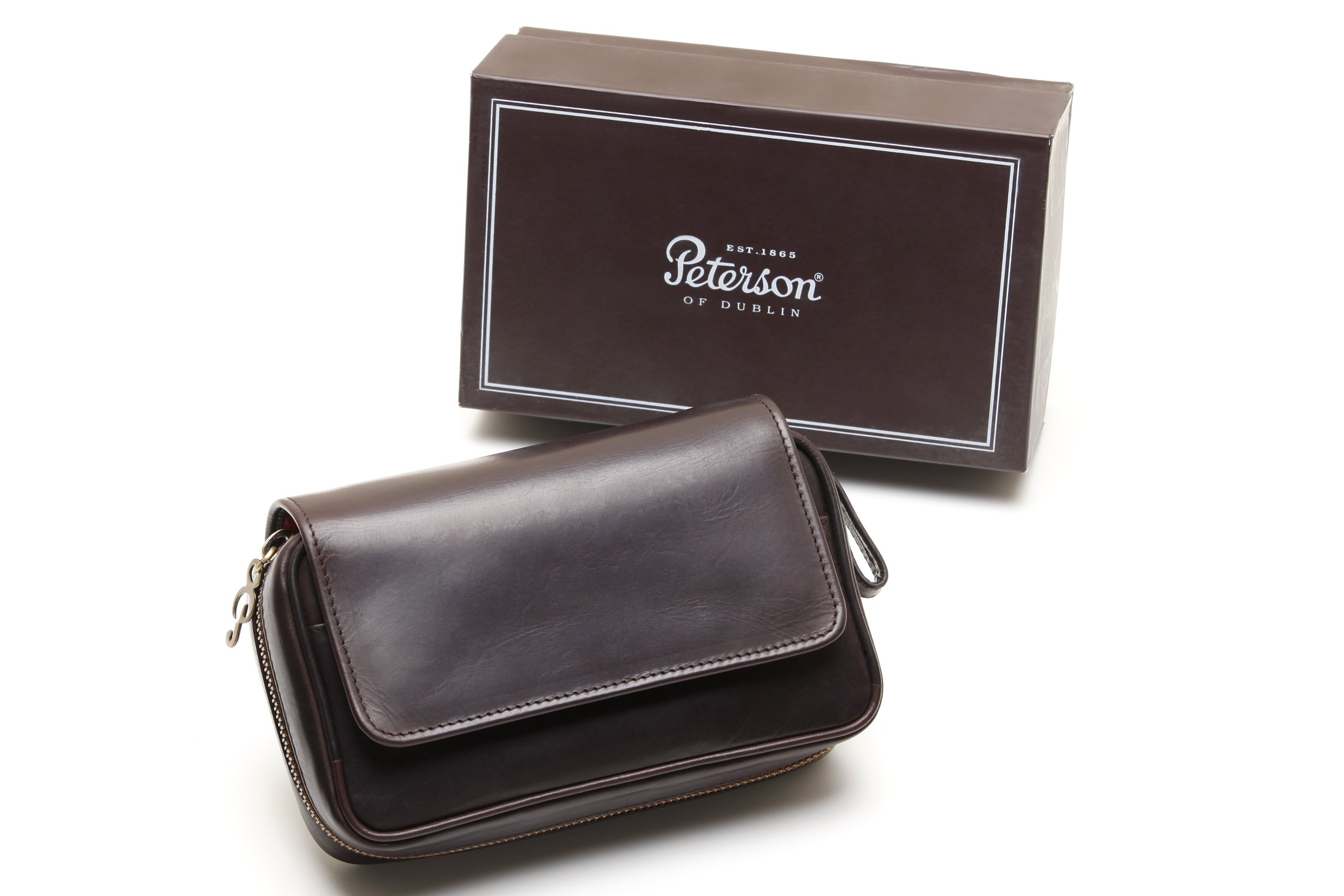 Peterson Deluxe Leather 2 Pipe Pouch