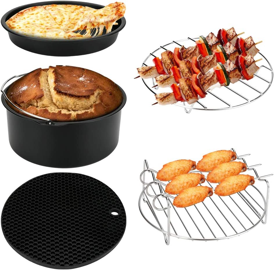 7 Inch Air Fryer Accessories, Set of 5, XL Air Fryer Accessories for Growise Phillips Cozyna Ninjia Fits All 3.5QT - 4.5QT Air Fryer, BPA Free, Dishwasher Safe, Nonstick Coating
