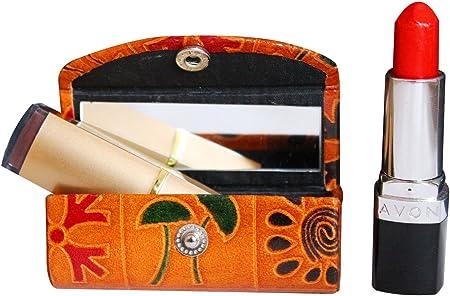 Estuche de piel para pintalabios y cosméticos para el bolso, suave y duradero, con espejo, color marrón: Amazon.es: Hogar