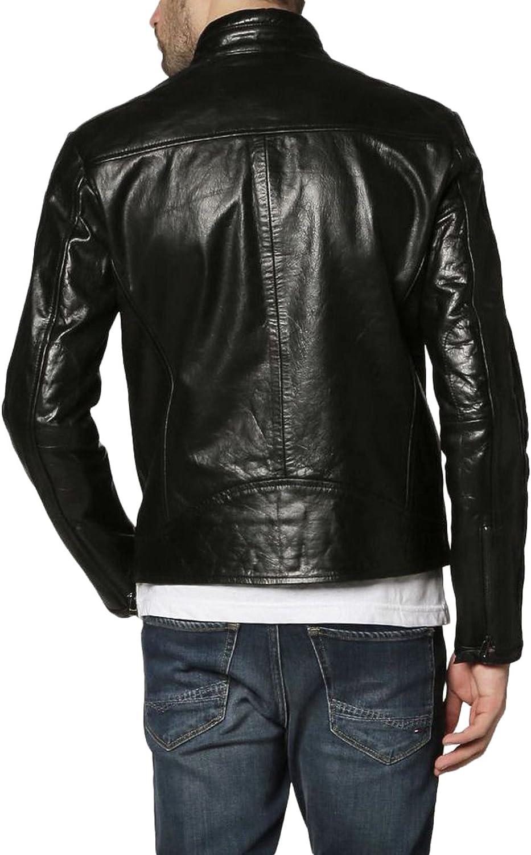 New Men Motorcycle Black Lambskin Leather Jacket Coat Size XS S M L XLX1504