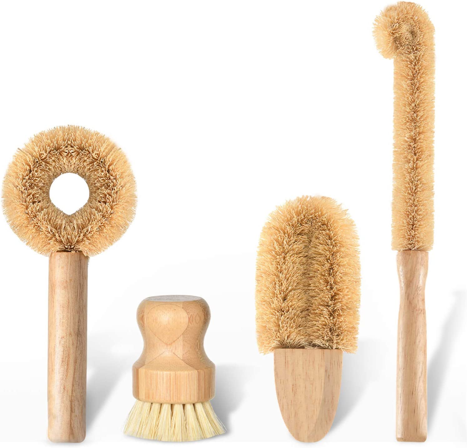 Subekyu Kitchen Scrub Brush Set of 4,All Natural Cleaning Brushes for Dish/Bottle/Vegetable/Pan/Pot, Scrubber with Bamboo Handle and Coconut Fibers Bristles