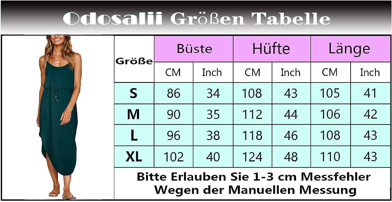 Odosalii Damen Sommerkleider /Ärmellos Strandkleid Boho Maxikleid Verstellbaren Spagettitr/ägern Kleider mit Schlitz