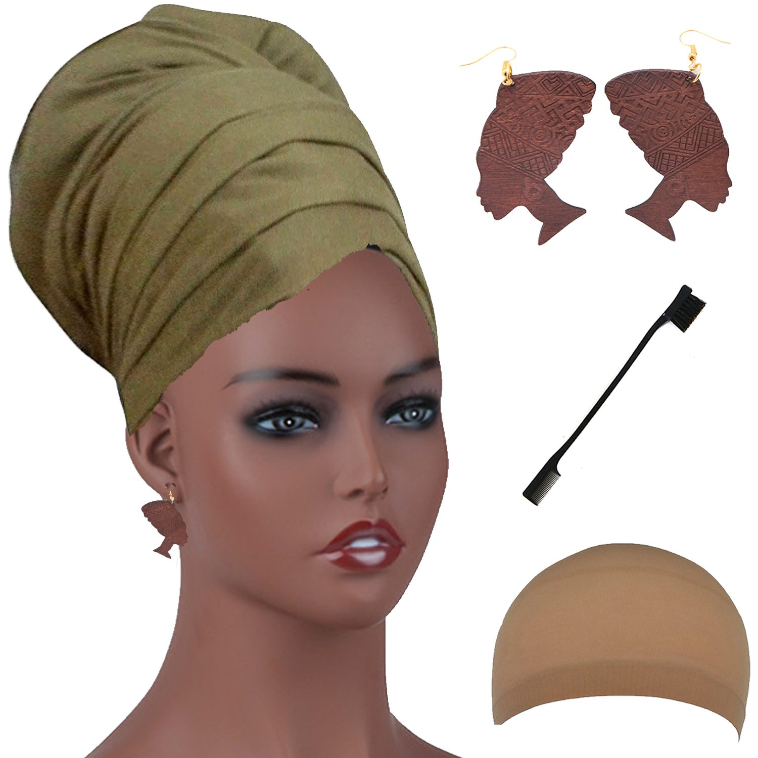 Long Stretch Head Wrap Set- Solid Color African Turban Hair Scarf Tie, Double Sided Edge Control Hair Brush Comb Combo,Wooden Colored Turban African Woman Earrings,Wig Cap (OneSize, Olive)