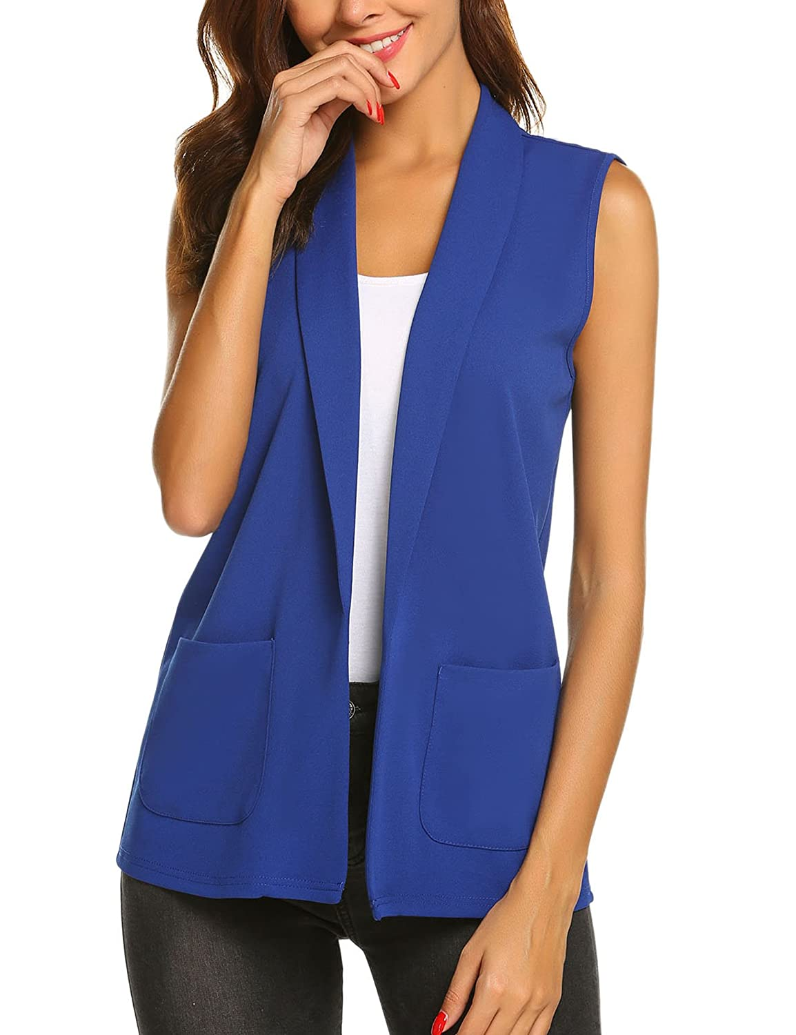 Ladies' Colorful 1920s Sweaters and Cardigans History Dealwell Womens Sleeveless Vest Casual Open Front Cardigan Blazer with Pockets $24.99 AT vintagedancer.com