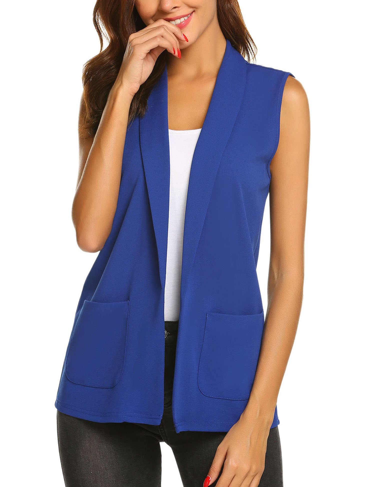Dealwell Women Sleeveless Shawl Draped Blazer Open Front Pocket Cardigan Vest Top (Royal Blue, Small)