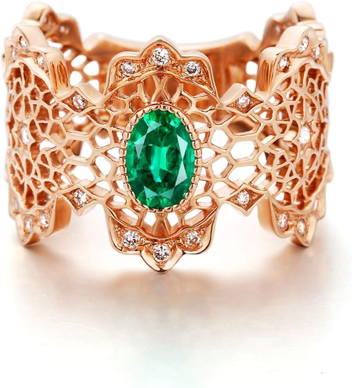 Daesar Anillo Compromiso Mujer,Anillo 18K Oro Rosa Mujer Redondo con Hueco Esmeralda Verde 0.532ct Diamante 0.253ct Talla 6,75-25