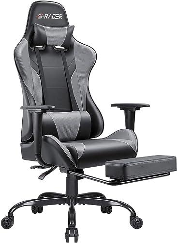 Homall Ergonomic Desk Footrest Racing Executive Swivel Adjustable Rolling Task Chair, Gray