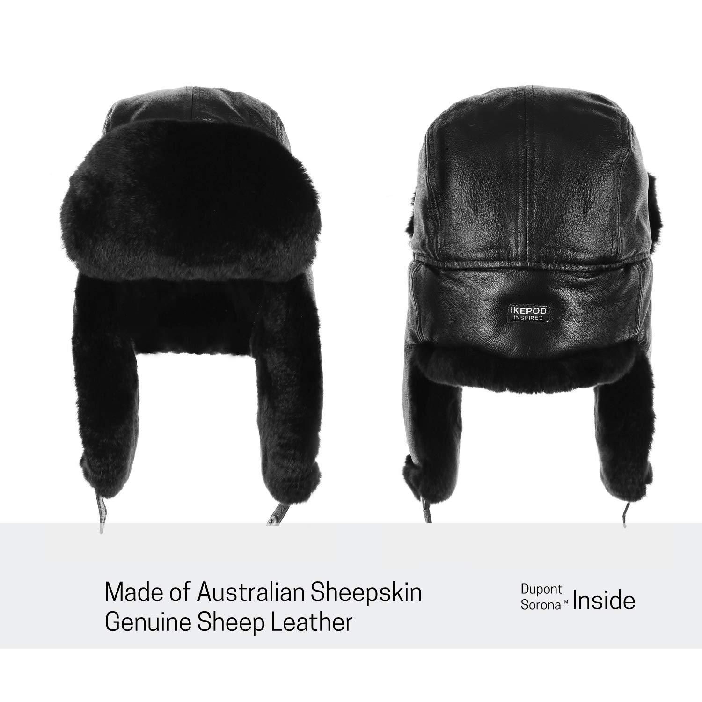 f94bf52c6b2a18 Amazon.com: IKEPOD Shearling Sheepskin Sheep Leather Aviator Russian Winter  Fur Men Trapper Hat: Clothing