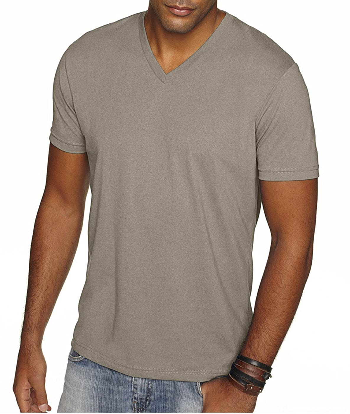 2 Shirts Cardinal Next Level Apparel 6440 Mens Premium Fitted Sueded V-Neck Tee -2 Pack Warm Grey - Large