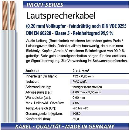 M G Techno 30m Lautsprecherkabel 2 X 4mm Echtes Elektronik