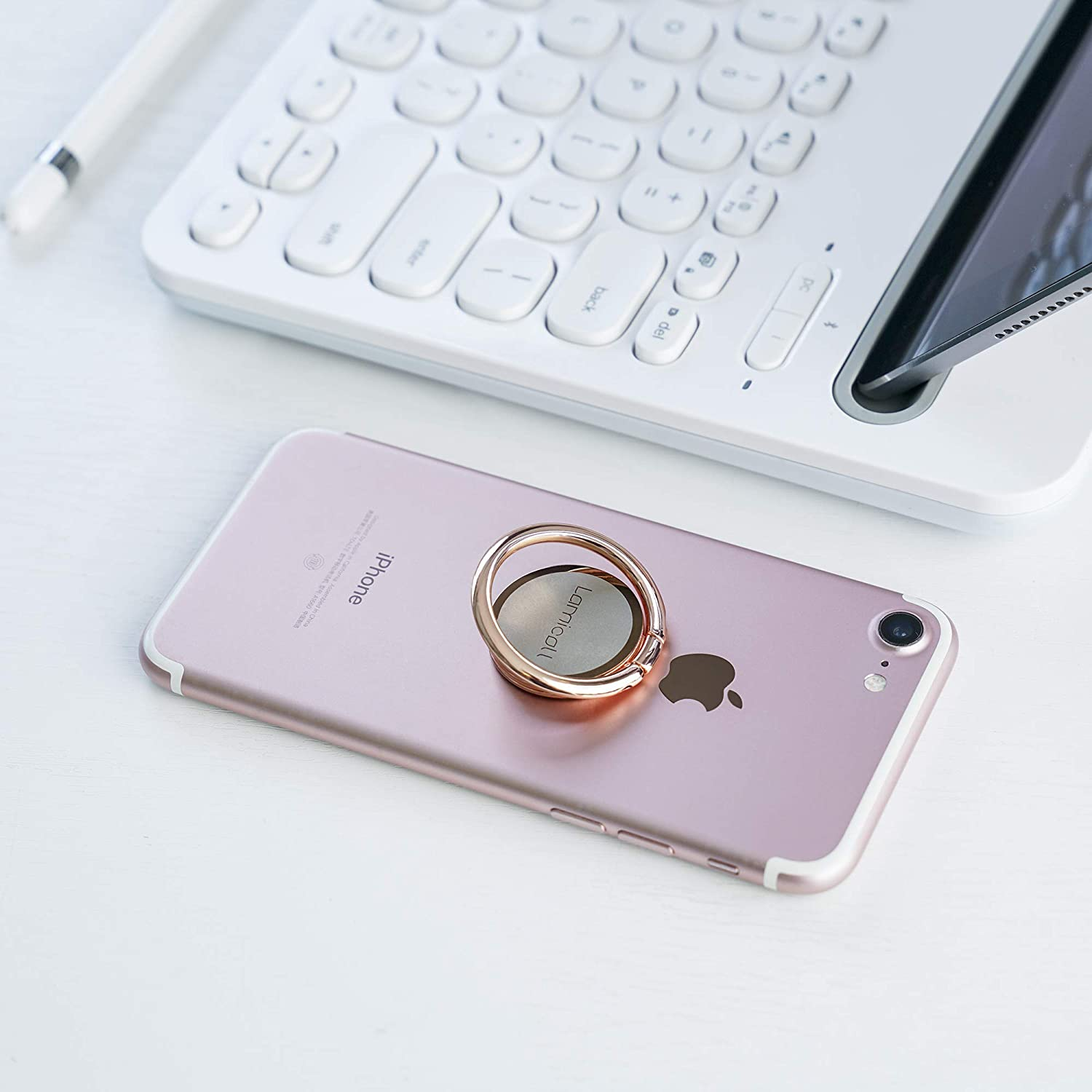 Samsung Sony Nexus Rose Gold HUAWEI LG Handy Finger Ring Stand : Universal Grip 360 Adjustable Mobile Phone Loop for All 4~8 Smartphones Lamicall Phone Ring Holder