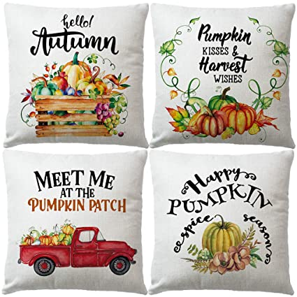 7ColorRoom Set of 4 Fall Autumn Pillow Covers Watercolor Harvest Pumpkin Red Truck with Quotes Cushion Cover Autumn Farmhouse Décor Pillowcases18 x 18 Inch,4Pack for Thanksgiving Day (Pumpkin 1) best autumn throw pillows