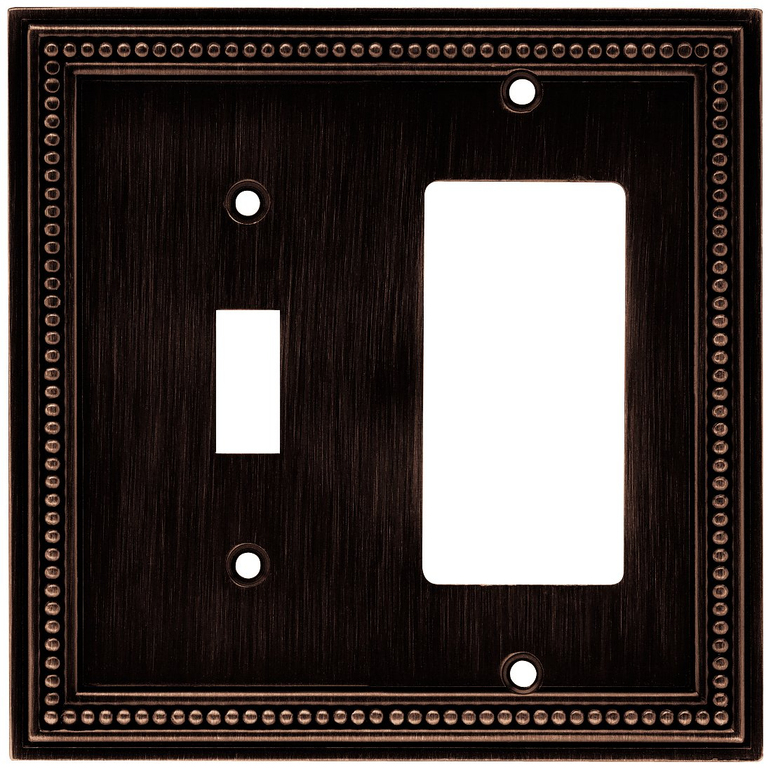 Brainerd 64407 Beaded Single Toggle Switch/Decorator Wall Plate / Switch Plate / Cover, Venetian Bronze