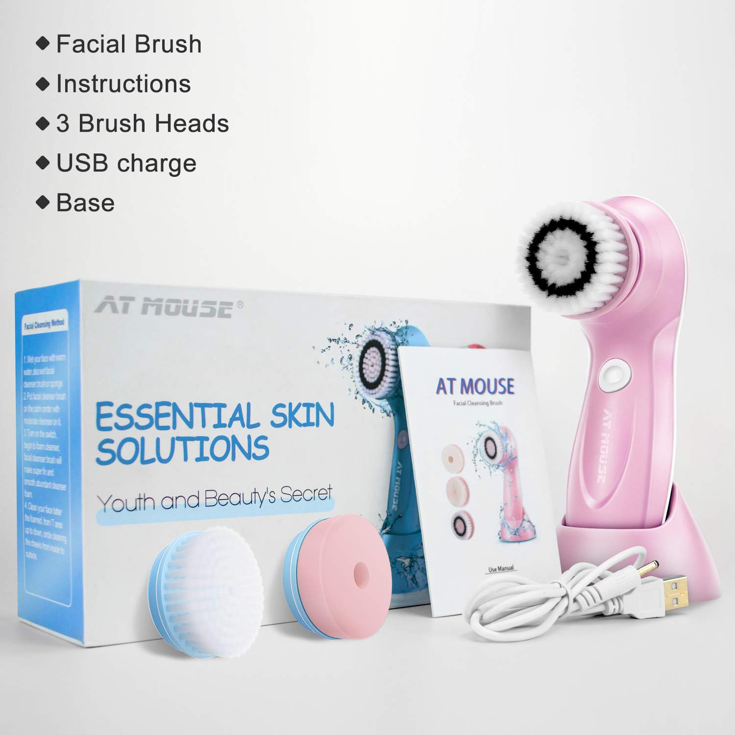 Facial Cleansing Brush Rechargeable - Electirc Spin Face Brush - 2 Speed Waterproof Facial Brush