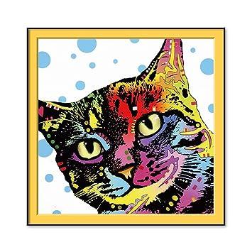 FastDirect 30x40CM Moderno Cuadro Gato Multicolor Lienzo Pared Pintura Arte Del Cartel Decoración Hogar: Amazon.es: Hogar