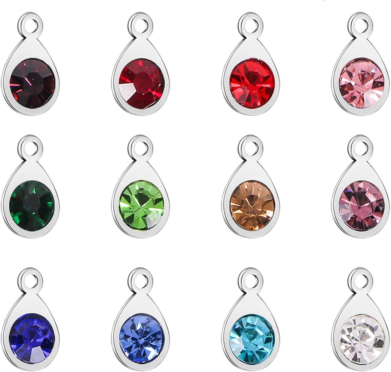 52 Pieces Water Drop Pendants Crystal Beads Pendants Charms Rhinestone Teardrop