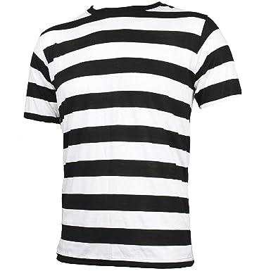 d65442b2ab Amazon.com: Largemouth Men's Short Sleeve Striped Shirt Black White ...