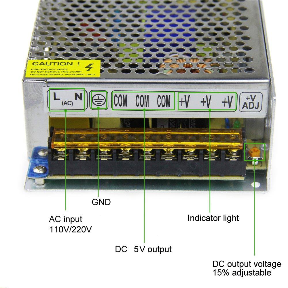Alitove 5v 40a 200w Power Supply Transformer Adapter Converter 110v Dc Regulator 15v Non 220v Ac To