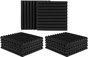 "12 Pack Set Acoustic Panels, 2"" X 12"" X 12"" Acoustic Foam Panels, Studio Wedge Tiles, Sound Panels wedges Soundproof Sound Insulation Absorbing"