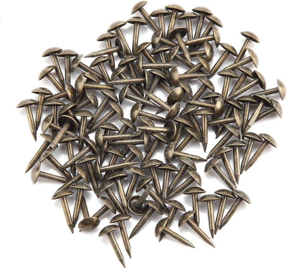 100 clavos redondos para tapicería con cabeza curvada y gruesa, grapas de hierro, para muebles y puertas de madera