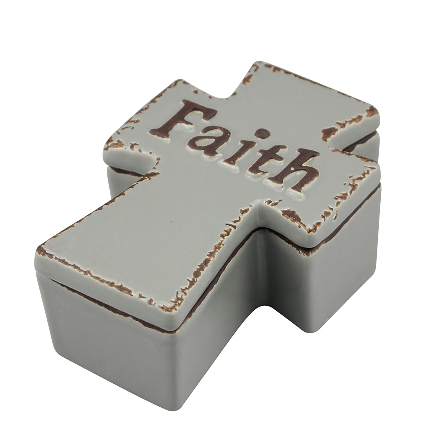 Stonebriar Ceramic Cross Shape Keepsake Trinket Box, Unique Rosary and Jewelry Holder, Religious Gift Ideas for Birthdays, Christmas, Weddings, Engagements, and First Communion CKK Home Décor SB-6110A
