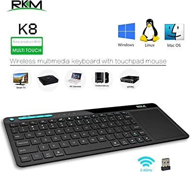 Rikomagic K8 2.4Ghz Mini USB Teclado Inalambrico Ratón Touchpad Bluetooth para android Smart TV Box, Mini PC, HTPC, Computer: Amazon.es: Electrónica