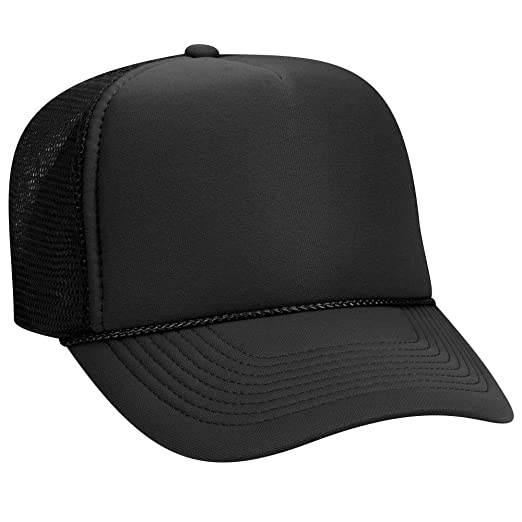 OTTO Polyester Foam Front 5 Panel Pro Style Mesh Back Trucker Hat - Black aba9612def0