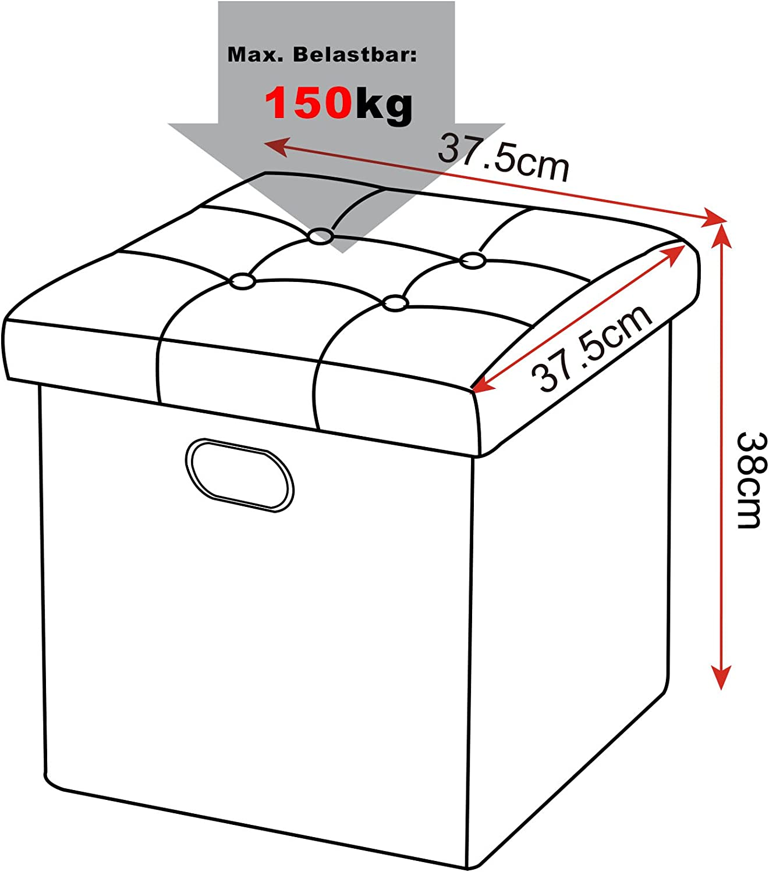 eSituro Pouf Contenitore Cassapanca Pieghevole con Coperchio Rimovibile Sgabello a Cubo Poggiapiedi 37,5x37,5x38CM Bianco SOM0024