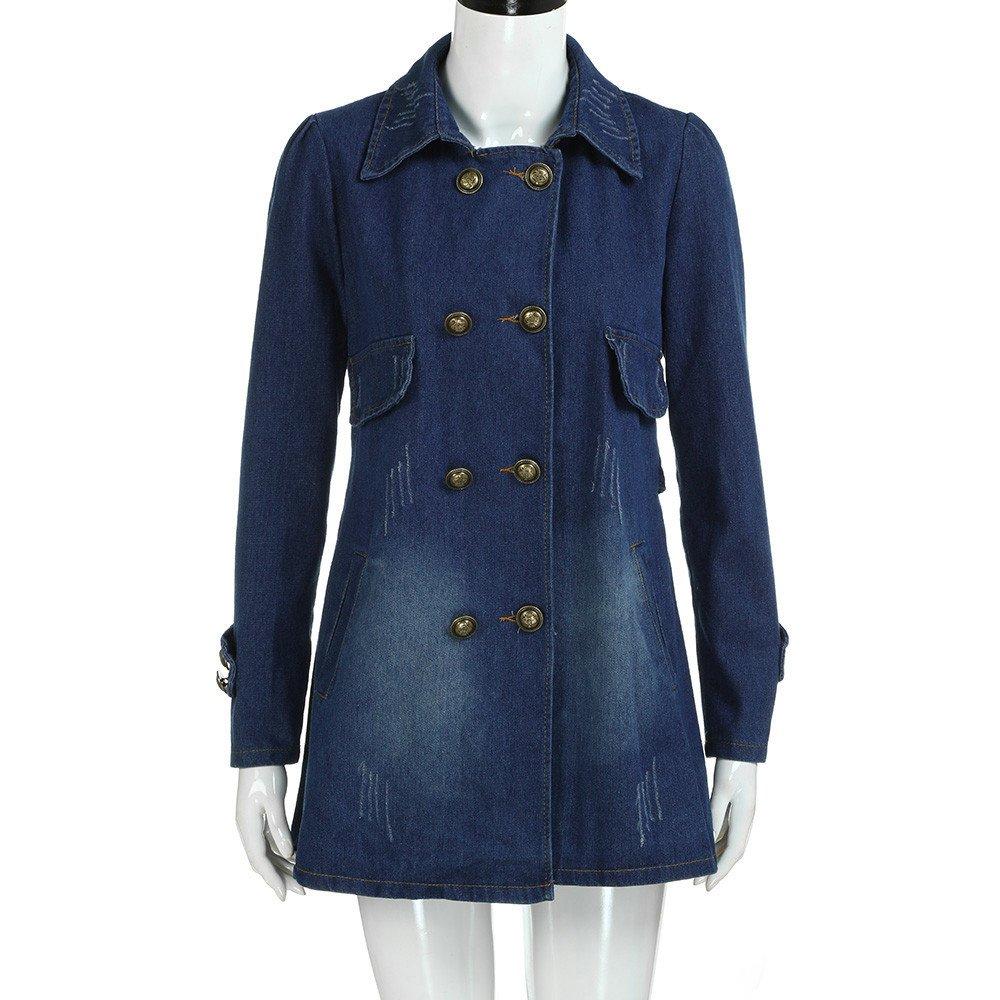 Kulywon Women Fashion Casual Long Sleeve Denim Jacket Long Jean Coat Outwear Overcoat by Kulywon (Image #5)