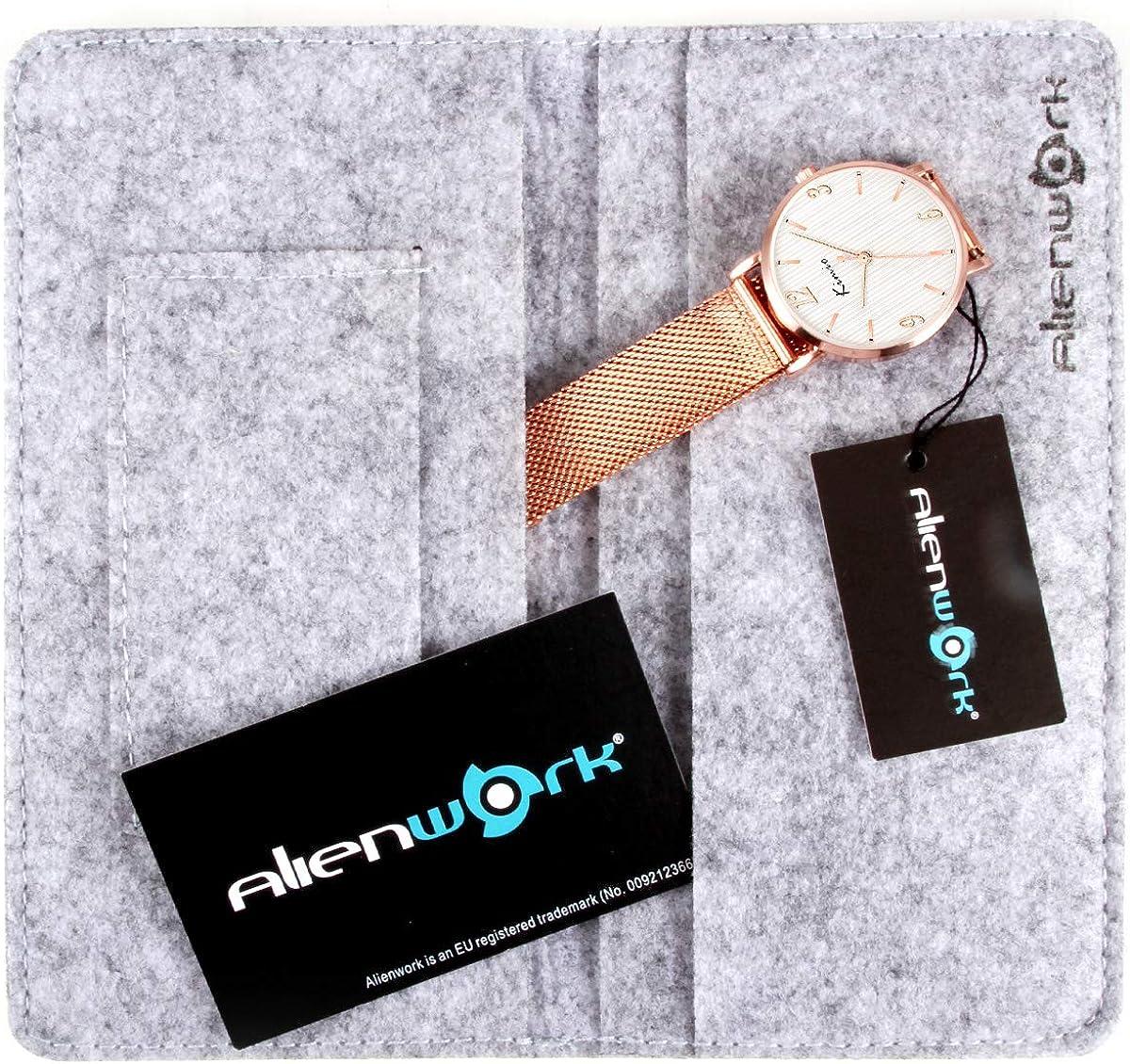 Alienwork Kimio Minimaliste Montre Femme Ø32mm avec Bracelet Maille Or Rose/Blanc