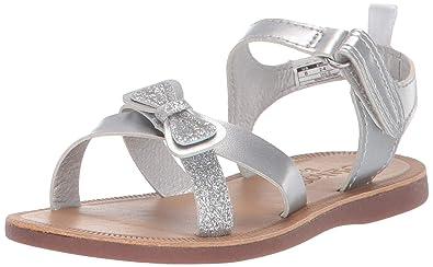 2767029e1222 OshKosh B'Gosh Dee Girl's Glitter-Accented Sandal, Silver 4 M US Toddler