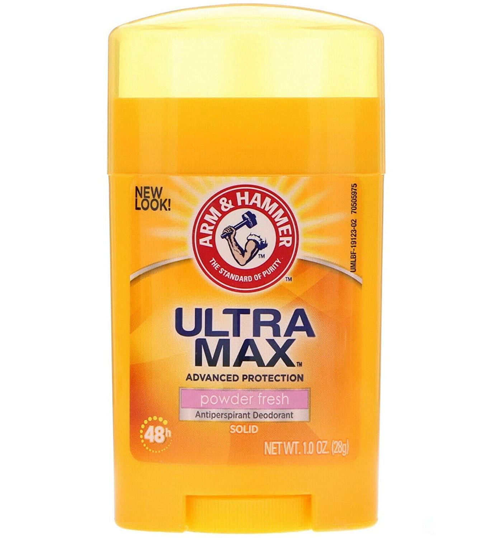 Arm & Hammer Ultra Max Powder Fresh Antiperspirant Deodorant 1.0 Oz Travel Size (Pack of 3)
