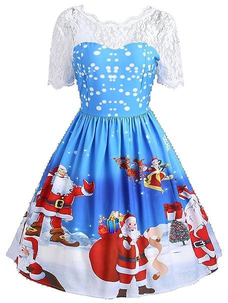 CARMELAA 2017 New Christmas Dresses Vintage Retro Women Lace Insert Midi Vestidos De Fiesta Winter Santa